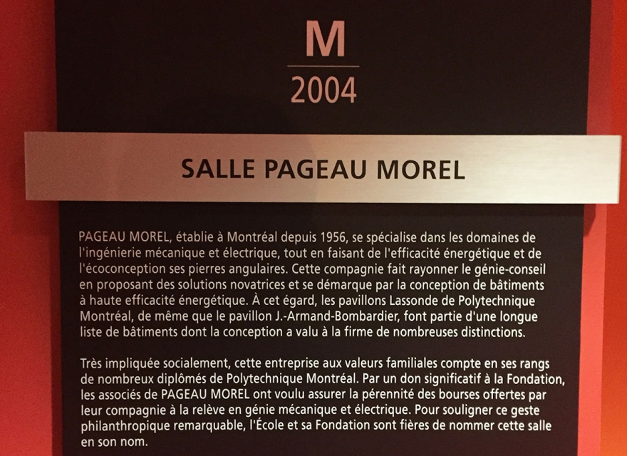 Inauguration of the Pageau Morel Classroom at Polytechnique Montréal