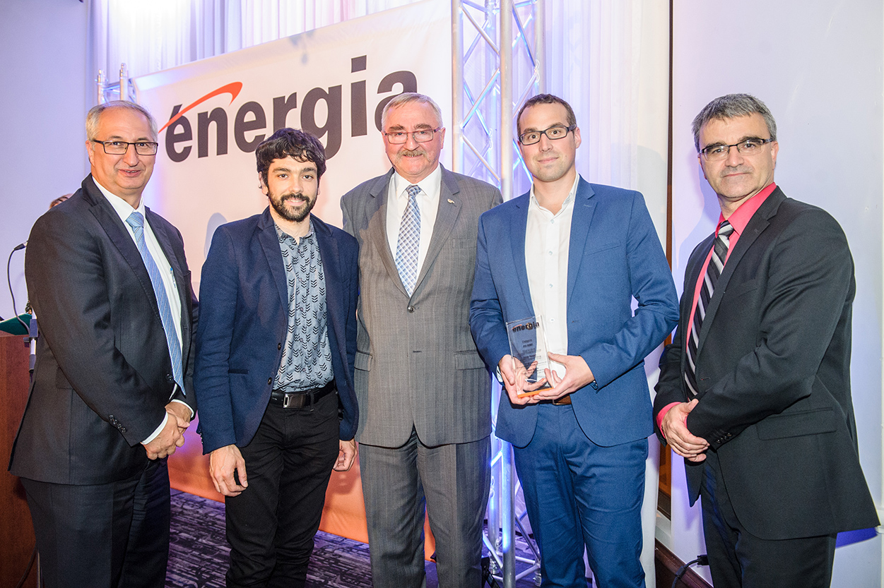 From left to right: Alain Desjardins, President, AQME; Daniel Picard, Eng., Project Manager, Pageau Morel; Roland Charneux, Eng., Director, Pageau Morel; Mathieu Leclerc, Eng., Director, Pageau Morel; Jean Lacroix, CEO, AQME